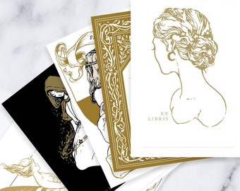 Enchanted sampler mixed bookplates - 10 pack - ex libris - vintage design - pen ink