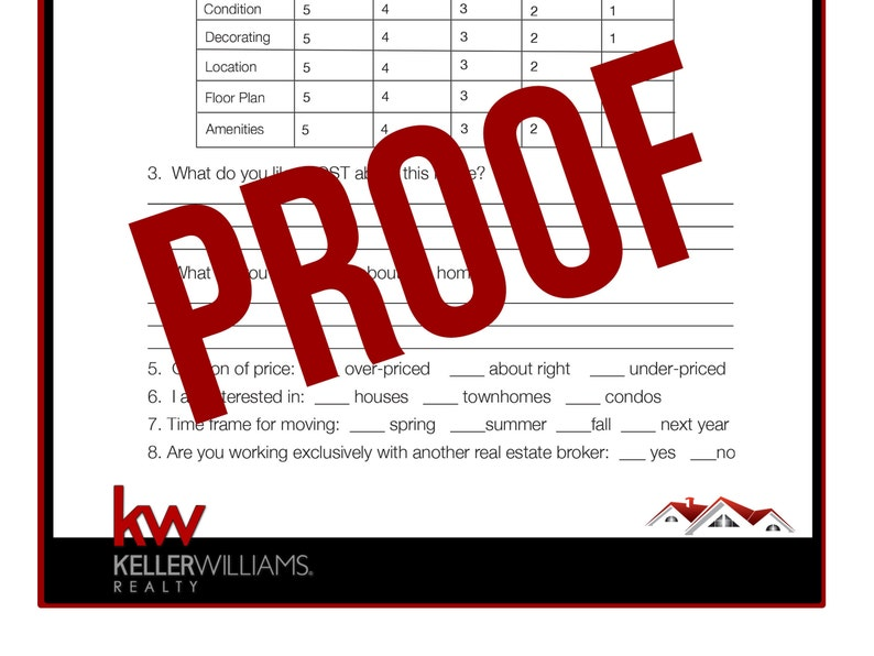 photograph regarding Free Printable Open House Feedback Form titled Keller Williams - Genuine Estate Printable - Open up Household Opinions Variety - True Estate Promoting