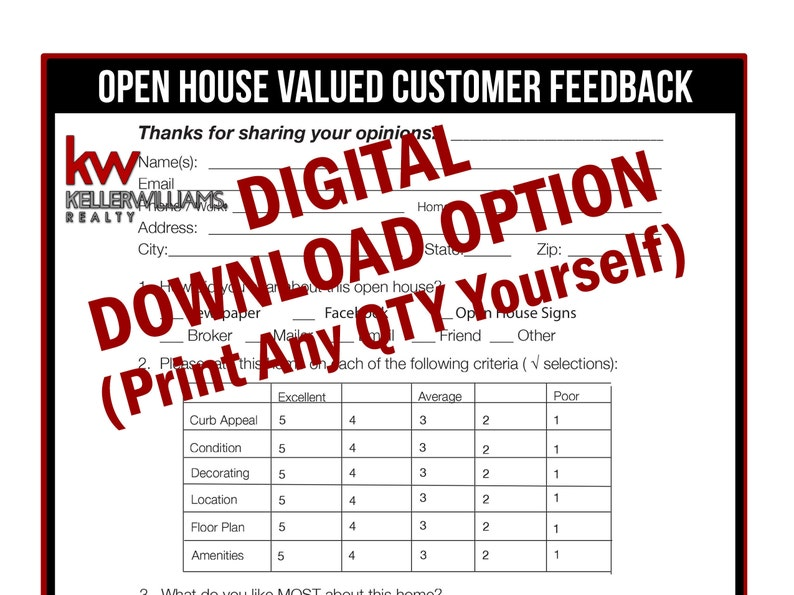 image about Free Printable Open House Feedback Form identified as Keller Williams - True Estate Printable - Open up Space Opinions Type - True Estate Marketing and advertising