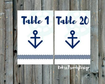 Printable Table Numbers, Nautical Table Numbers, Instant Download, 20 Table Numbers Beach Wedding, Cruise Wedding, Instant Download