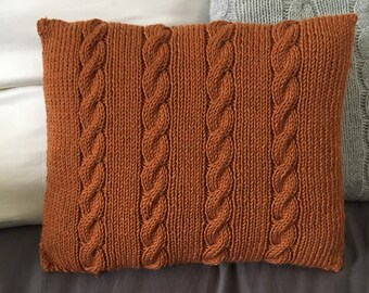(Wool approved woolmark) hand knitted cushion