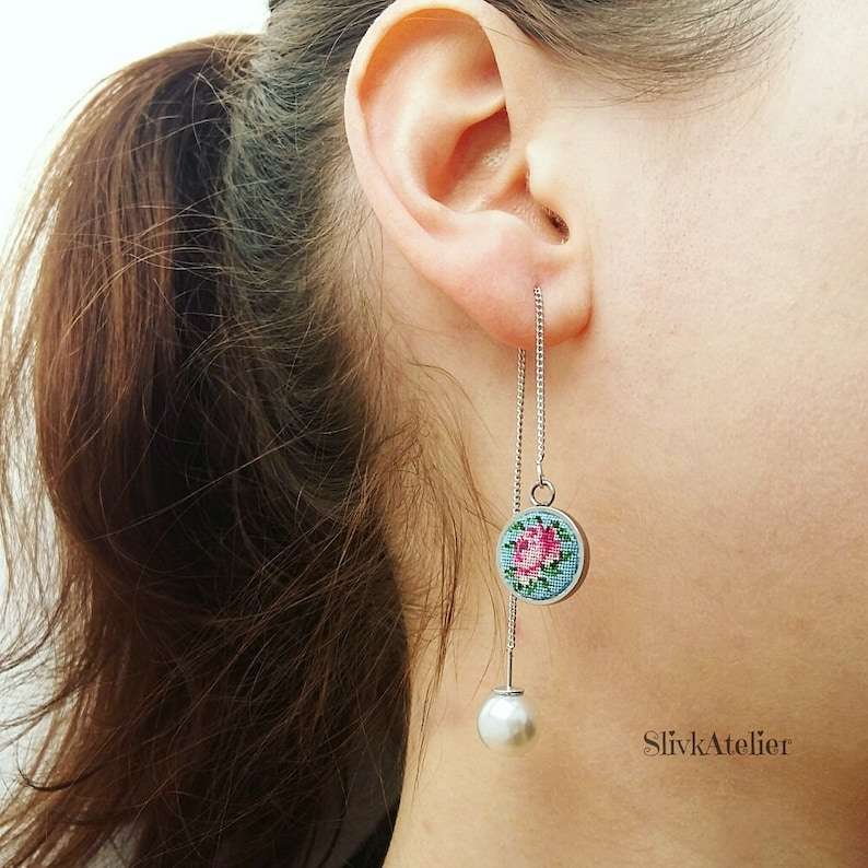 pearl dangle earring embroidered petit point vintage pink threader earrings floral needlepoint Spring gift for Mom Long chain earrings
