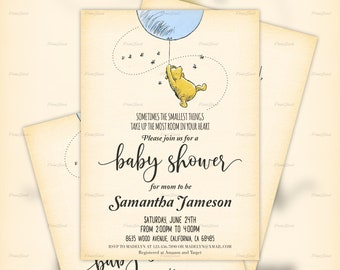 photo regarding Printable Winnie the Pooh Baby Shower Invitations named Winnie the pooh boy or girl shower invites Etsy