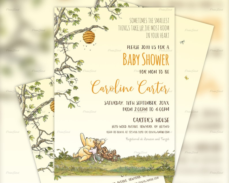 picture about Printable Winnie the Pooh Baby Shower Invitations identify Winnie The Pooh Kid Shower Invitation, Clic Pooh Invites, Classic Winnie The Pooh, Printable, Electronic