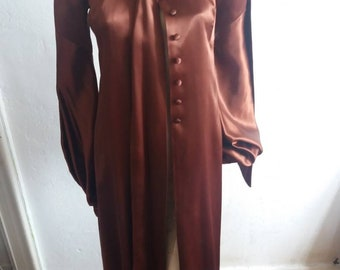 81d8df771552 Beautiful documented vintage 1960s/1970s Biba brown satin over dress