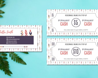 PERSONALIZED PIPHANY Money, Piphany Cash Card, Custom Piphany Cash Coupon, Piphany Marketing, HL08