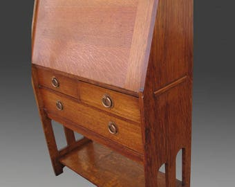 """Antique """"Stickley Brothers"""" Drop Front Desk With Cut-Out  w2634    This desk was sold in the shop and no longer for sale."""
