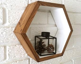 Handmade Wooden Hexagon Shelf/ Walnut