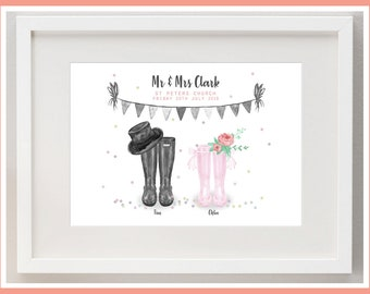 d7c7cad32 Personalised Wedding Wellies Print