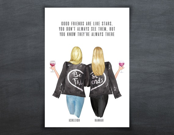 Personalised Best Friends Illustration Prints Gift Birthday Mum Sister A4