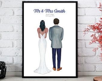 Personalised Wedding Print, Bride and Groom, Mr and Mrs, Wedding Gift, Personalised Wedding Present, Newly Weds, Wedding Poster, Anniversary