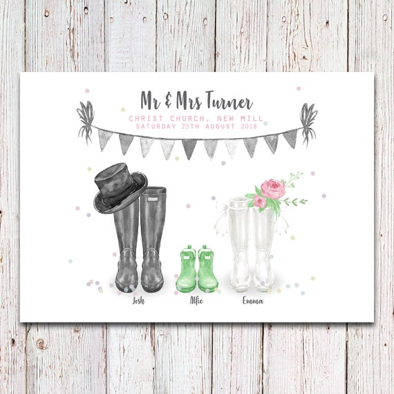 Personalised wedding wellies Print wedding welly print engagement print gift