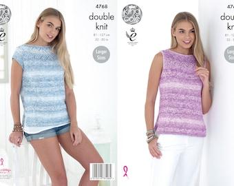 Ladies Tops Knitting Pattern - King Cole DK Knitting Pattern 4768