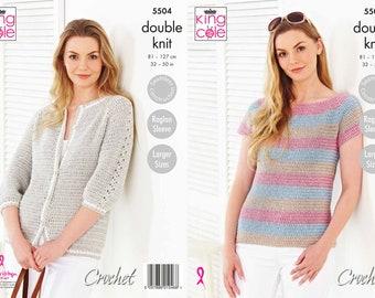 Crochet Top and Cardigan - King Cole DK Crochet Pattern 5504