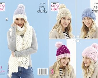 Hats and Scarf Knitting Pattern - King Cole Super Chunky Knitting Pattern 5530