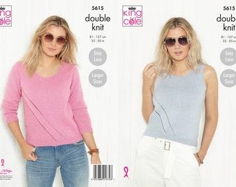 Sweater and Vest Knitting Pattern - King Cole DK Knitting Pattern 5615