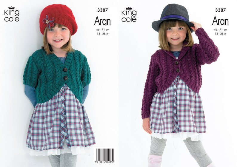 Girls Cabled Cardigans  King Cole Aran Knitting Pattern 3387 image 0