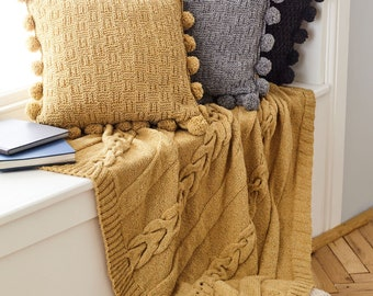 Throw and Cushions Covers Knitting Pattern - King Cole Aran Knitting Pattern 5661