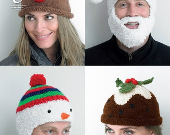 Adult's Christmas Novelty Hats Knitting Pattern - King Cole DK and Chunky Knitting Pattern 4114