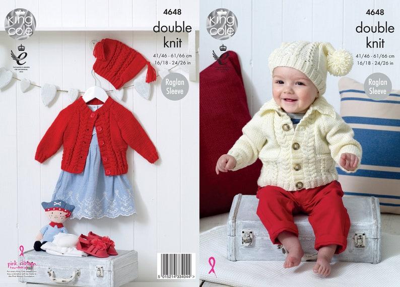 Babies' Raglan Cardigans Knitting Pattern  King Cole DK image 0