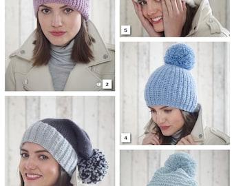 Hats Knitting Pattern - King Cole Chunky Knitting Pattern 5185