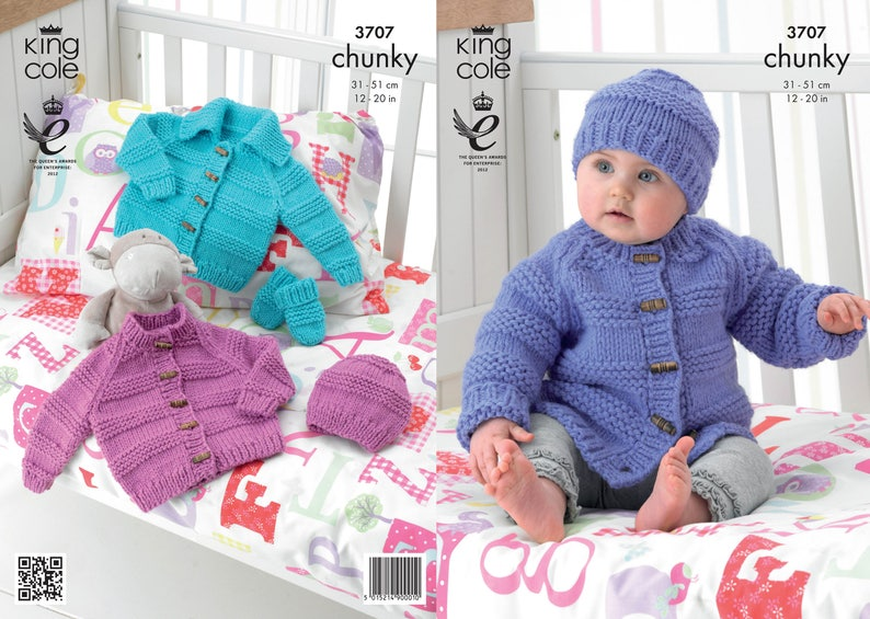 Babies Jacket Hat and Mitts Knitting Pattern  King Cole image 0