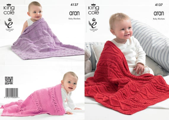 Baby Blankets Knitting Pattern King Cole Aran Knitting Etsy