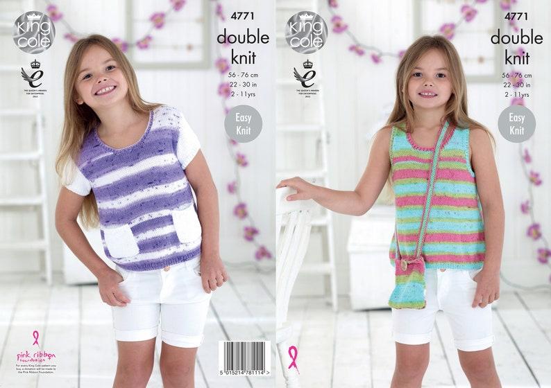 Girls' Tops Knitting Pattern  King Cole DK Knitting image 0