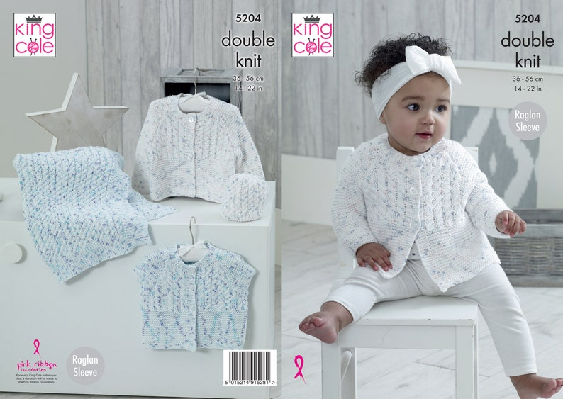 Babies Cardigans Blanket and Hat Knitting Pattern  King Cole image 0