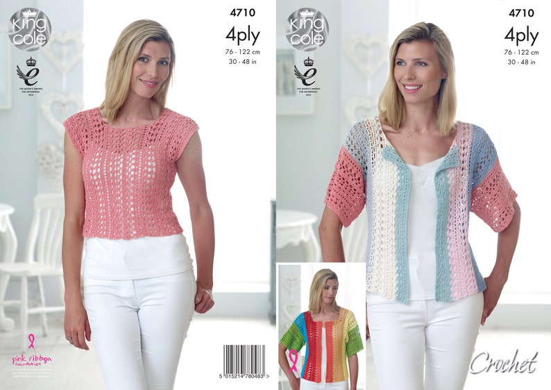 Crochet Top and Cardigan  King Cole 4 Ply Crochet Pattern image 0