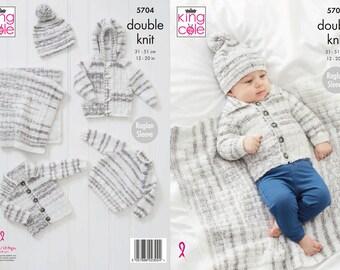 Blanket, Sweater, Jackets and Hat Knitting Pattern - King Cole DK Knitting Pattern 5704