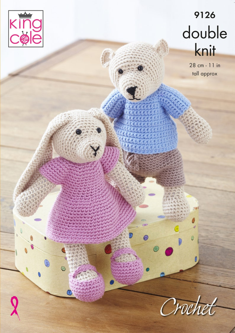 Crochet Bear and Rabbit  King Cole DK Crochet Pattern 9126 image 0
