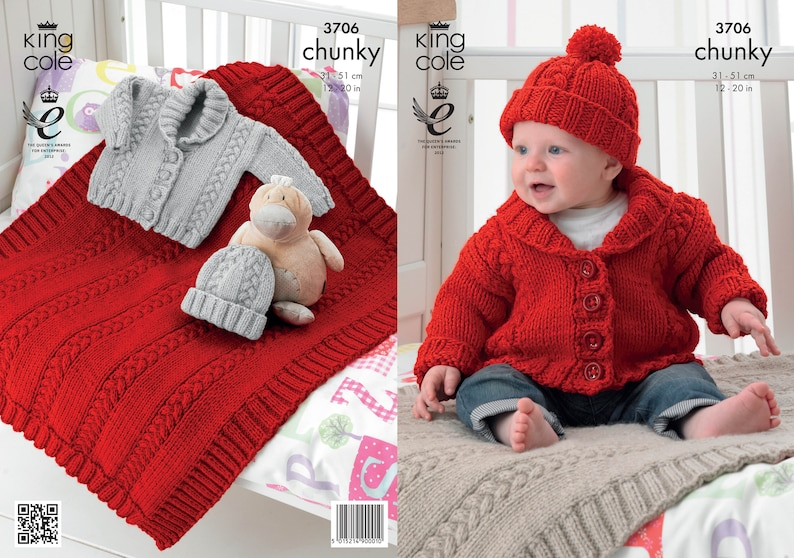 Babies Jacket Blanket and Hat Knitting Pattern  King Cole image 0