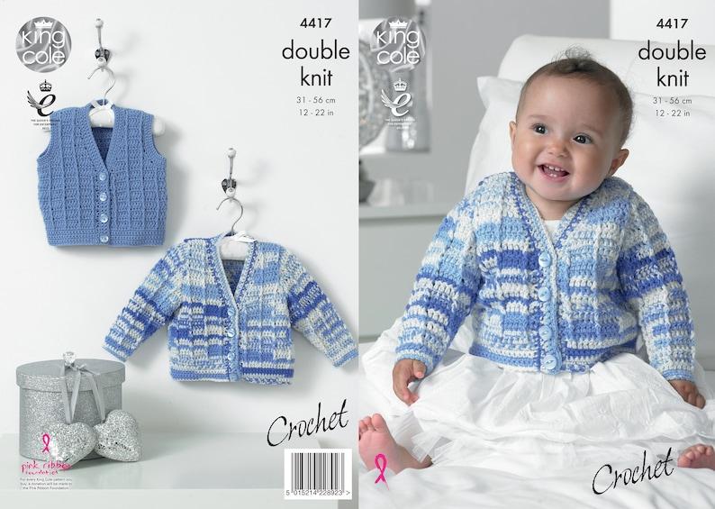 Crochet Cardigan and Waistcoat  King Cole Double Knit Crochet image 0