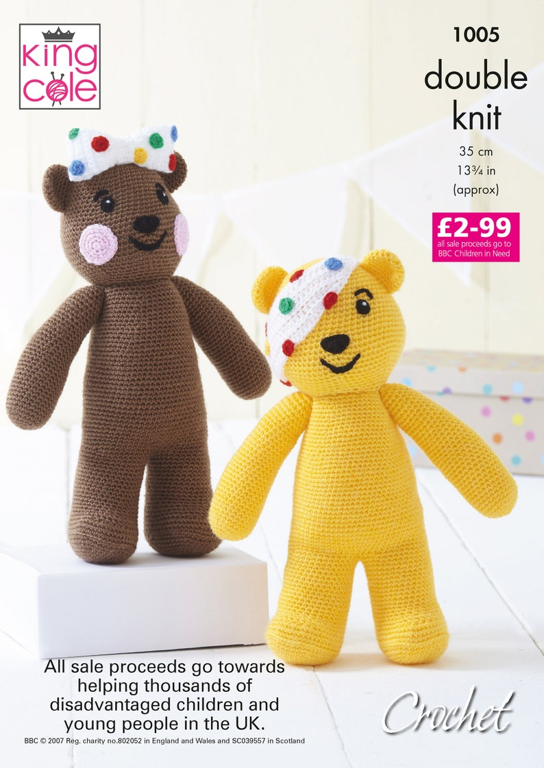 Pudsey and Blush Bears  King Cole DK Crochet Pattern 1005 image 0