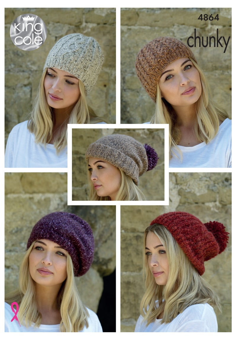Hats Knitting Pattern  King Cole Chunky Knitting Pattern 4864 image 0