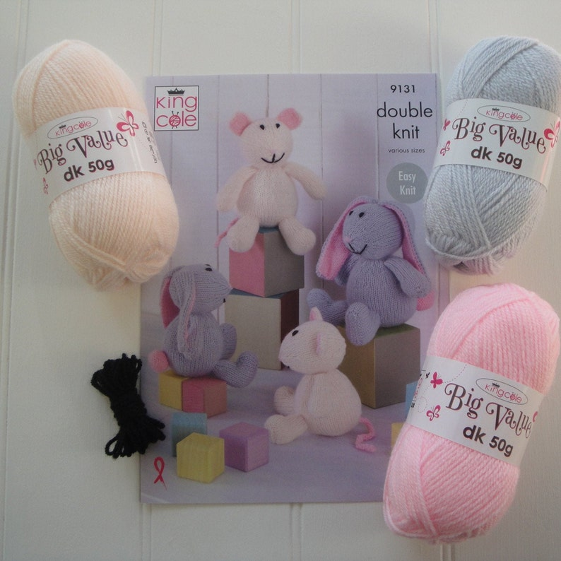 Knitting Kit to Knit Bunnies and Mice  King Cole Pattern 9131 image 0