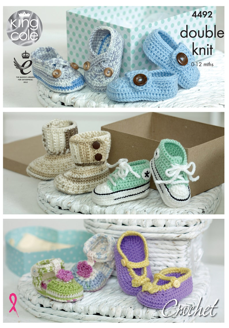 Crocheted Baby Shoes Crochet Pattern  King Cole Double Knit image 0