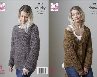 Cardigan and Sweater - King Cole Chunky Knitting Pattern 5676