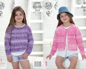 Girls Sweater and Cardigan Knitting Pattern - King Cole DK Knitting Pattern 4462