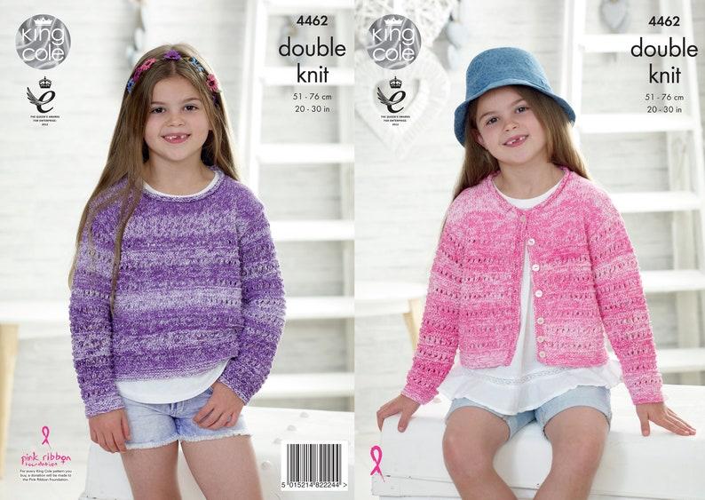 Girls Sweater and Cardigan Knitting Pattern  King Cole DK image 0