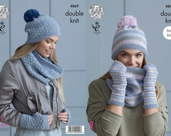 Snoods, Hats and Mitts Knitting Pattern - King Cole Double Knitting Pattern 4869
