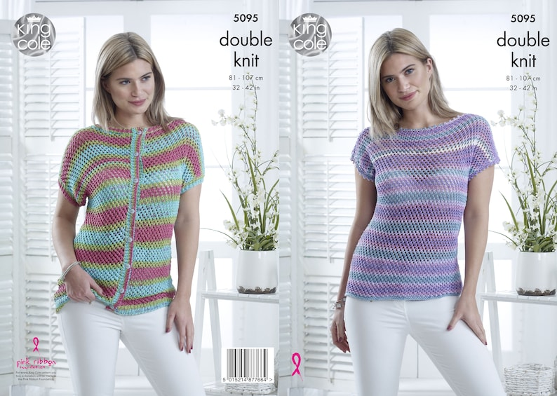 Ladies Cap Sleeved Top and Cardigan Knitting Pattern  King image 0