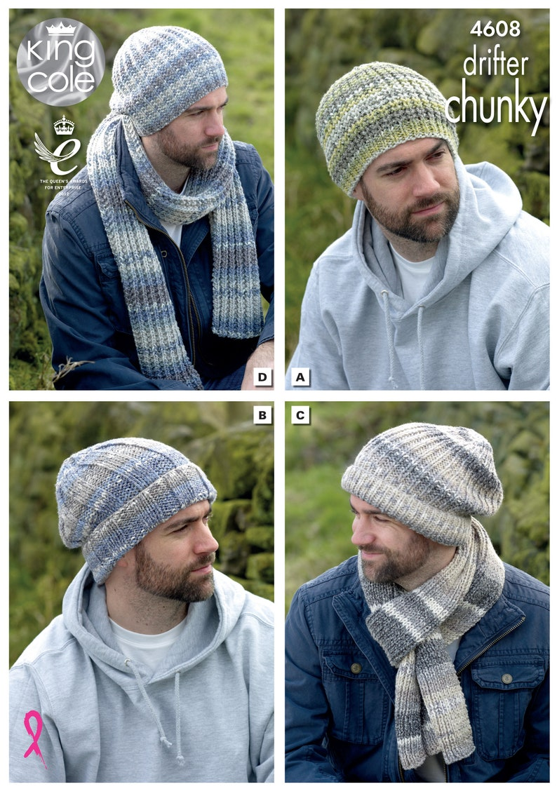 Hats and Scarves Knitting Pattern  King Cole Chunky Knitting image 0