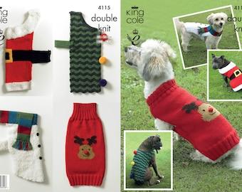 Christmas Dog Coats Knitting Pattern - King Cole DK Knitting Pattern 4115