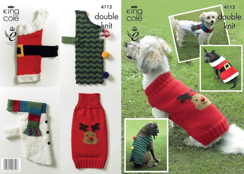 Christmas Dog Coats Knitting Pattern  King Cole DK Knitting image 0