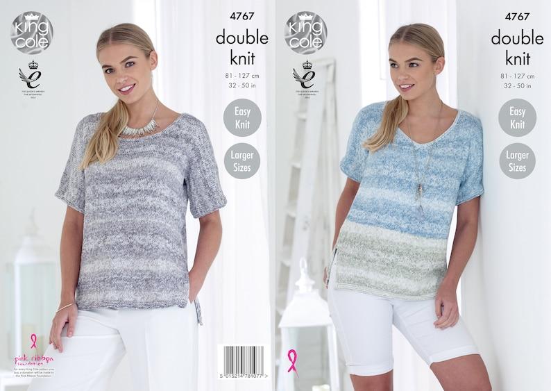 Ladies Tops Knitting Pattern  King Cole DK Knitting Pattern image 0