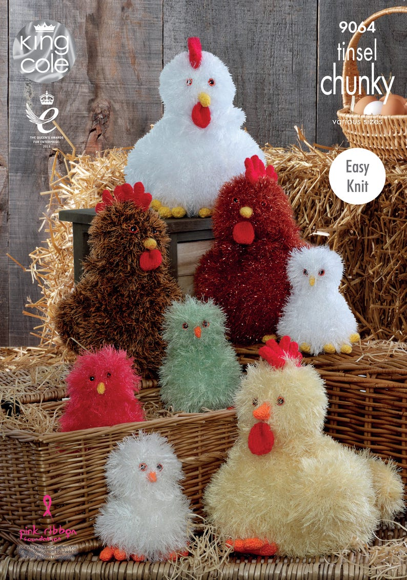 Hens and Chicks Knitting Pattern  King Cole Tinsel Chunky image 0