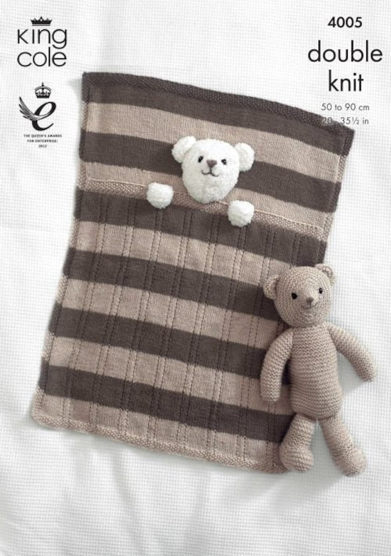 Baby Blankets and Teddy Bear Toy Knitting Pattern  King Cole image 0