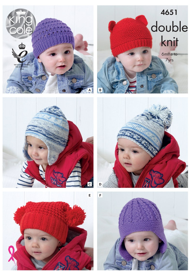 Children's Hats Knitting Pattern  King Cole Double Knit image 0
